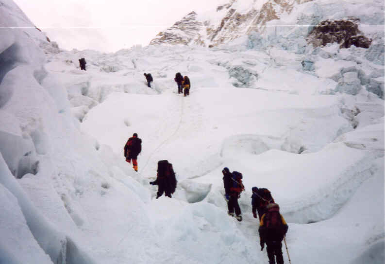 Photo climbing through the ice fall Everest South Ridge route