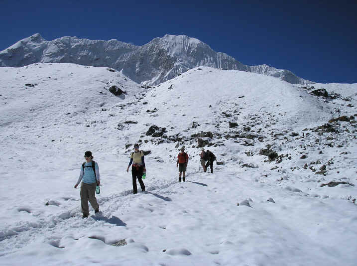 trekking down from Everest base camp