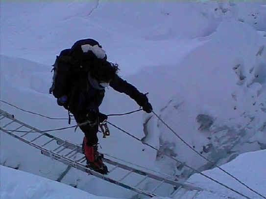 Todd Sampson crossing ladder Everest South Nepal