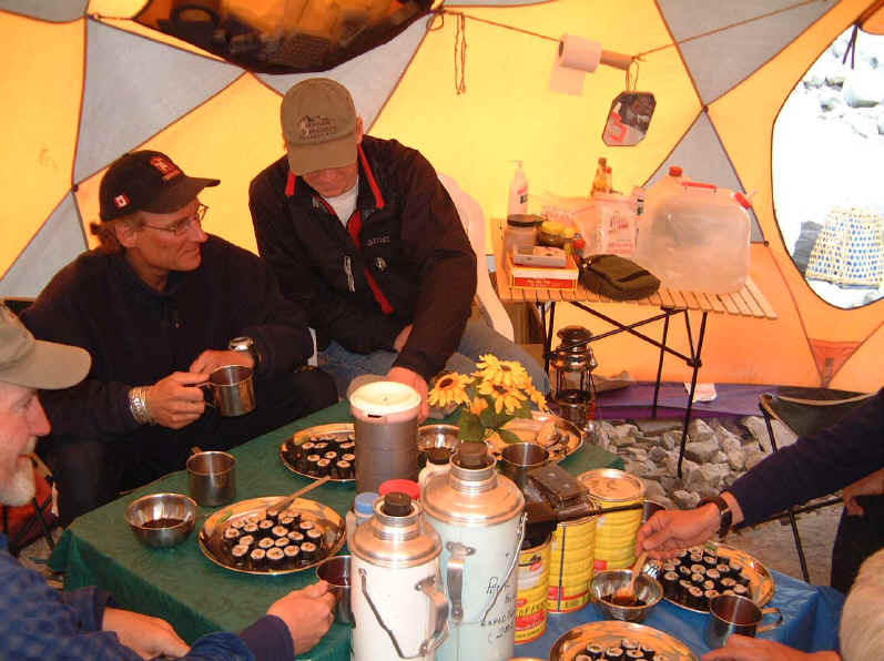 Sushi time at Peak Freaks Everest base camp